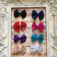 "Girls 4"" Sequin Bows w Clip"