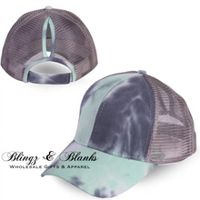 Tie Dye Ponytail Trucker Hat