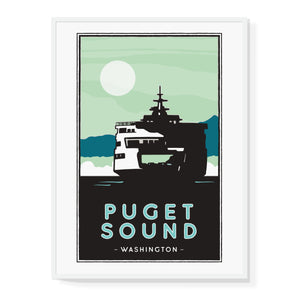 Puget Sound Ferry illustrated Poster
