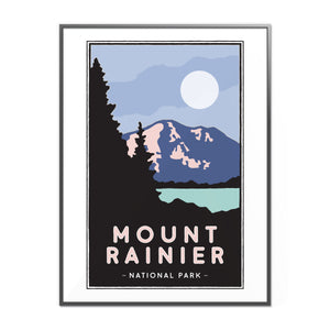 Mt. Rainier Illustrated Poster