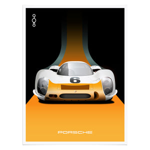 1968 Porsche 908 Works Short-Tail Illustrated Poster