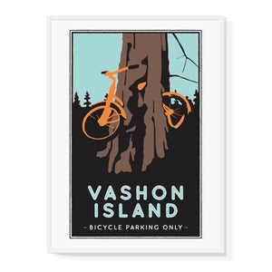 Vashon Island Bicycle Tree Illustrated Poster