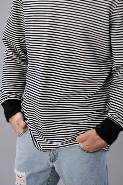 Stripped crew neck french terry