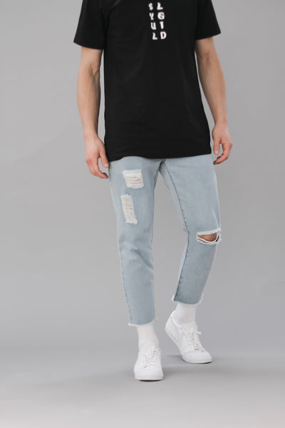 Light blue washed ripped 3/4 jeans