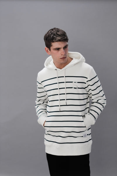 Striped pull over hood