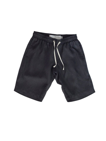 Black Linen Walk Short