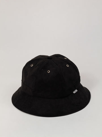 Black suede 6 panel bucket