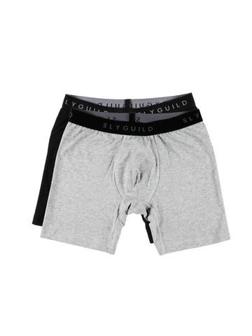 2 Pack Black + Grey Boxer Briefs