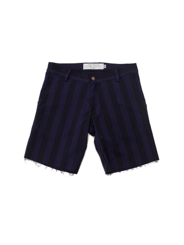 Navy Vertical Stripe Raw Walk Short