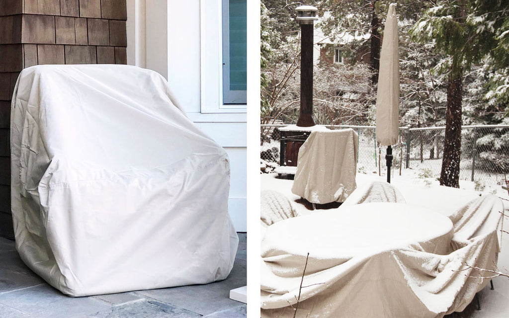patio furniture cover on snowy patio