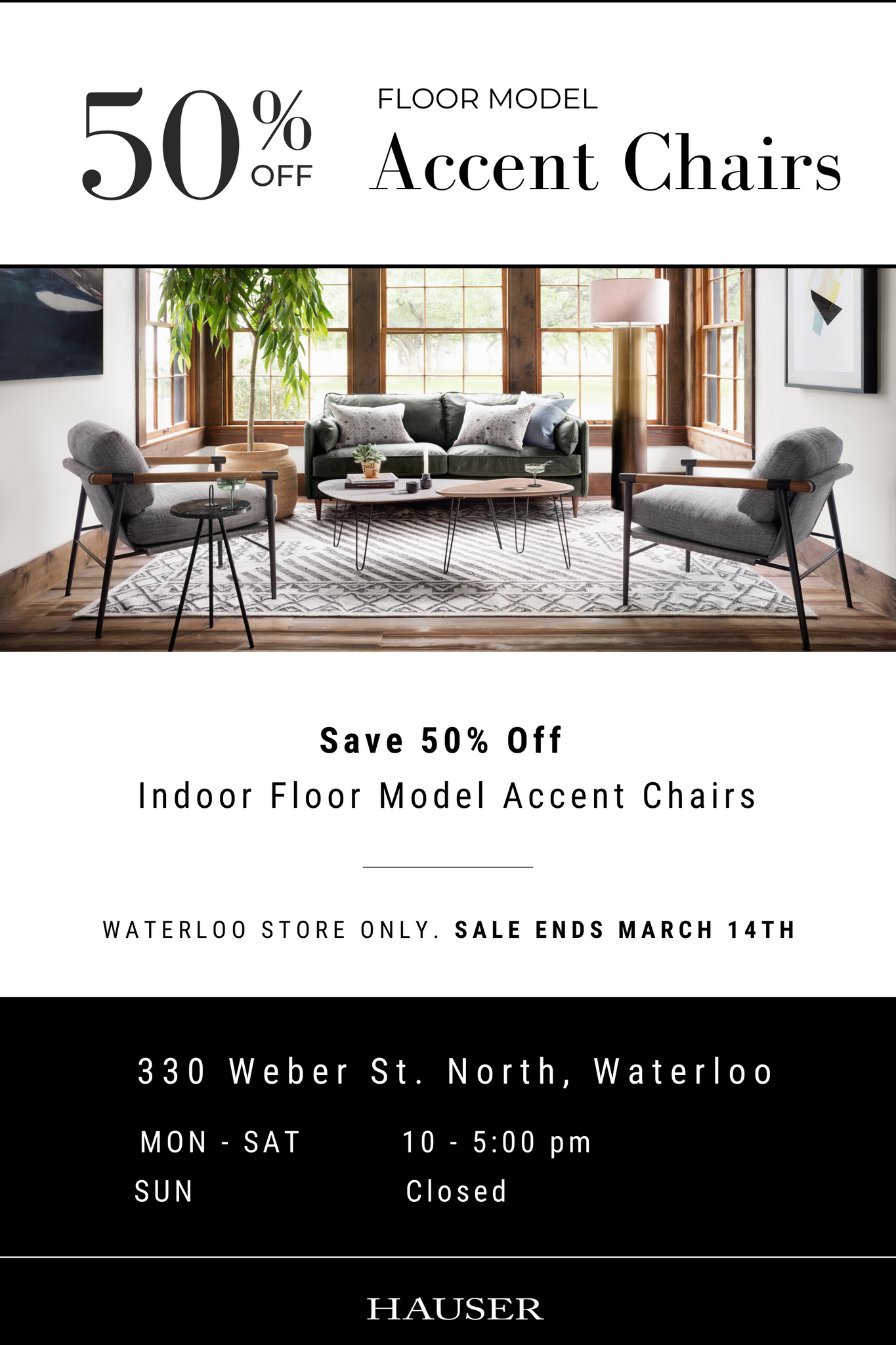 save 50% off indoor floor model accent chairs in waterloo