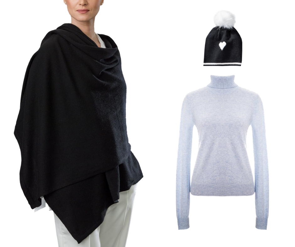 Woman wearing a black cashmere poncho beside grey cashmere turtleneck and toque with fur pompom and heart
