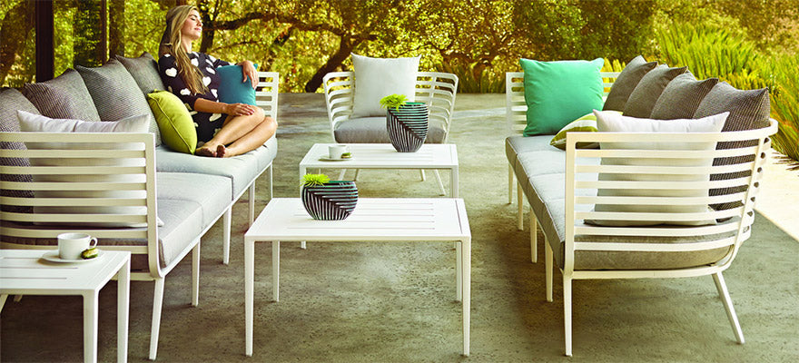 Hauseru0027s Comfortably Cushioned Patio Chairs, Loveseats, Outdoor Sofas And  Ottomans Are Available In Many Different Styles, Finishes And Fabrics.