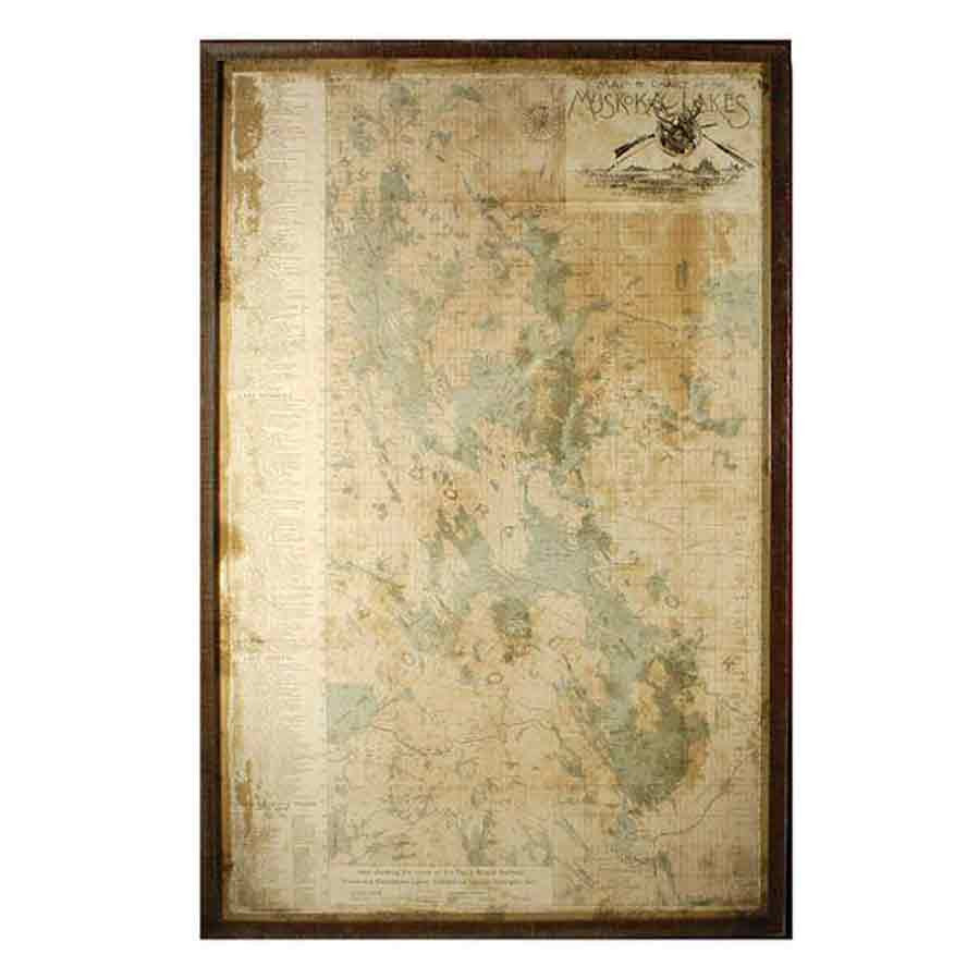 Muskokas Map Wall Art