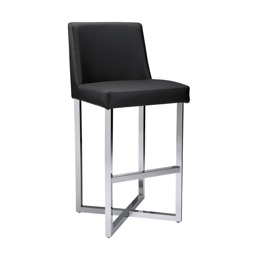 Howard Bar Stool - Stainless Steel - Black
