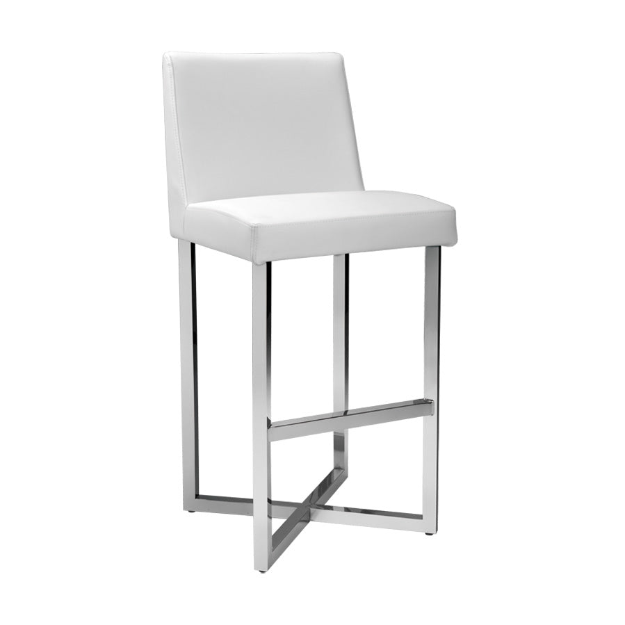 Howard Bar Stool - Stainless Steel - White