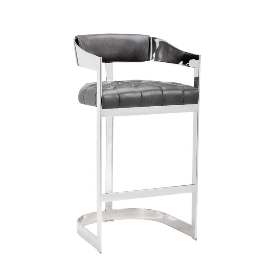 Beaumont Bar Stool - Stainless Steel - Grey
