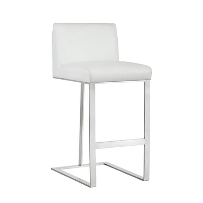 Dean Bar Stool - Stainless Steel - White