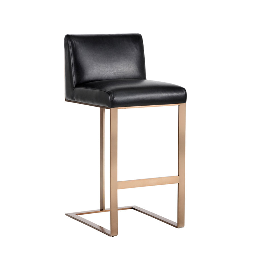 Dean Bar Stool - Antique Brass - Black