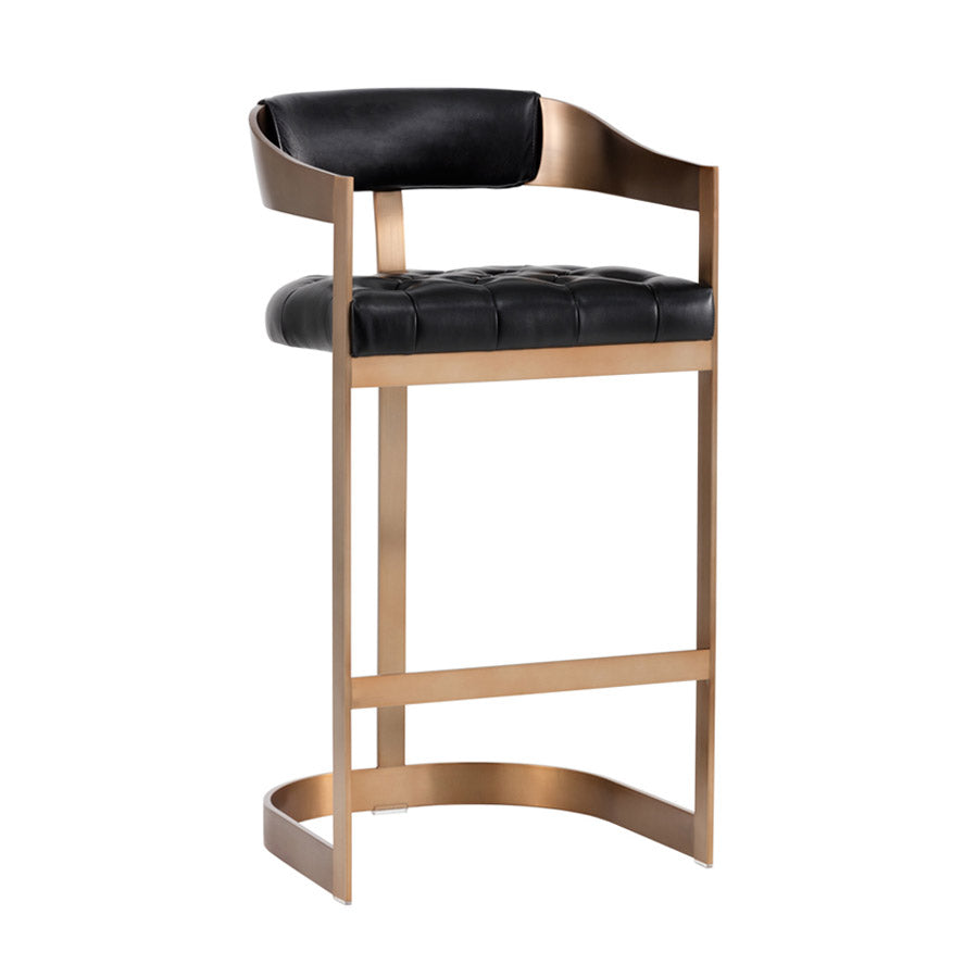 Beaumont Bar Stool - Antique Brass - Black