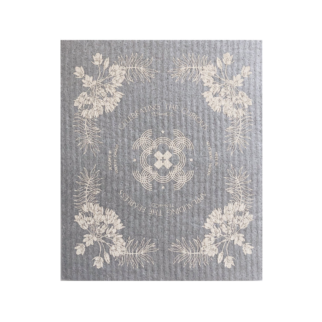Vintage Floral Cream on Warm Grey Sponge Cloth