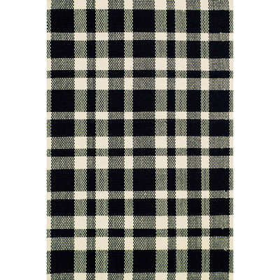 Dash & Albert Tattersall Black/Ecru Woven Cotton Rug