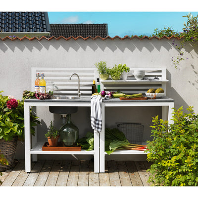 Outdoor Patio Kitchen with Sink - White