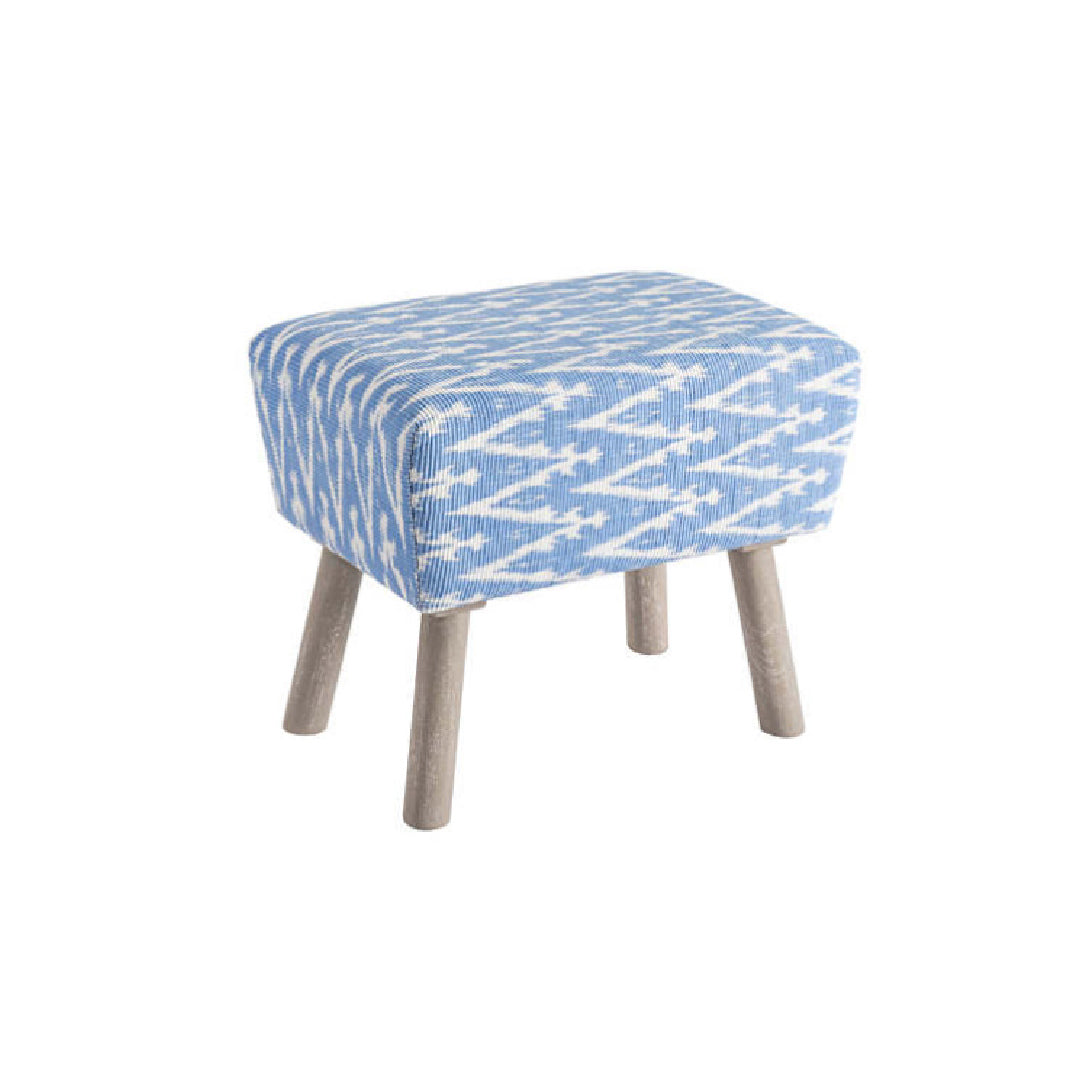 Ikat French Blue Mini Ottoman - Rectangle