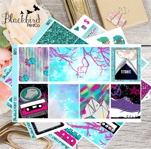 90's | Exclusive Hand Drawn Planner Sticker Kit for Erin Condren Vertical