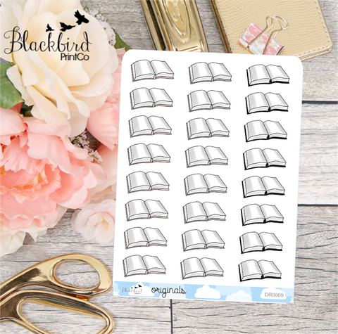 Books - Hand Drawn Planner Stickers [DR0009]