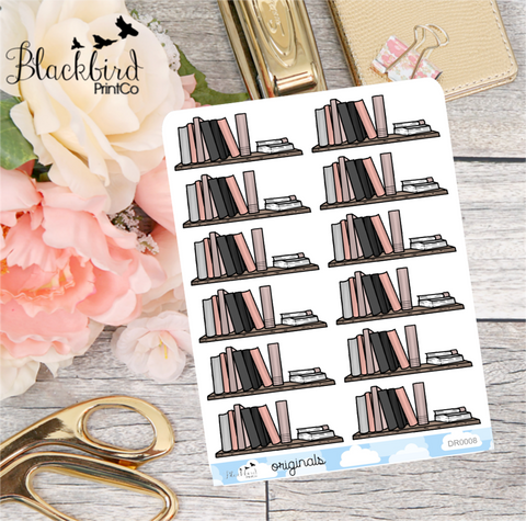 Bookshelf / Reading - Hand Drawn Planner Stickers [DR0008]