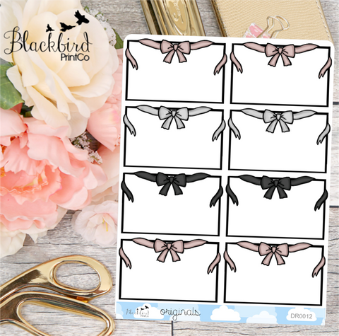 Bow Half Boxes | Hand Drawn Planner Stickers [DR0012]