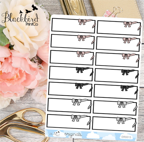 Bow Quarter Boxes | Hand Drawn Planner Stickers [DR0013]