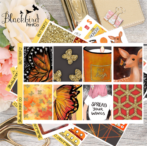 Butterfly | Exclusive Hand Drawn Planner Sticker Kit for Erin Condren Vertical