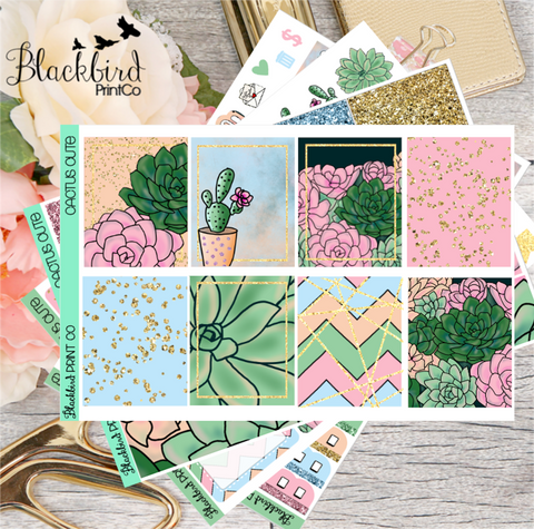 Cactus Cute | Exclusive Hand Drawn Planner Sticker Kit for Erin Condren Vertical
