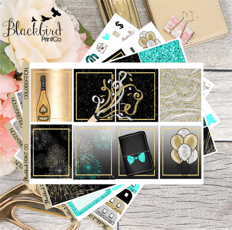 Celebration | Exclusive Hand Drawn Planner Sticker Kit for Erin Condren Vertical