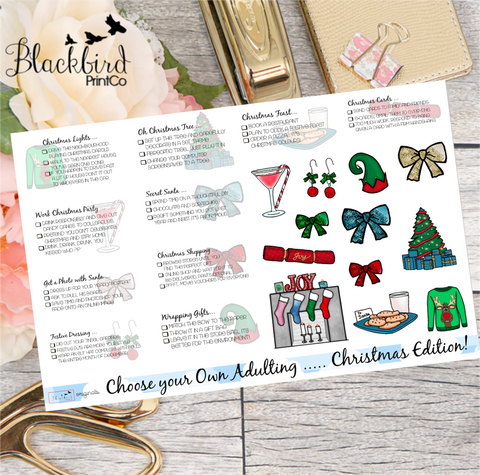 CHRISTMAS Choose Your Own Adulting | Hand Drawn original Planner Stickers