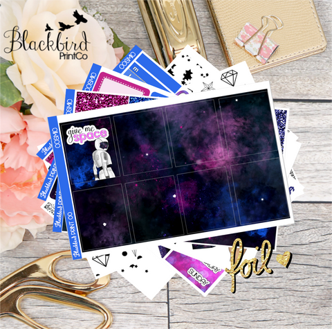 Cosmic LIMITED EDITION | Optional Holographic Foil Overlays! | Exclusive Hand Drawn Planner Sticker Kit for Erin Condren Vertical
