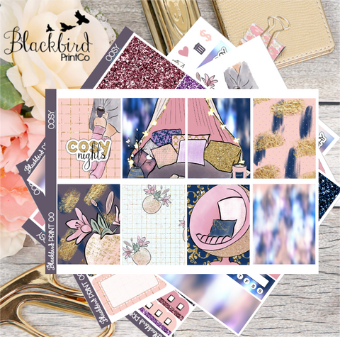 Cosy | Exclusive Hand Drawn Planner Sticker Kit for Erin Condren Vertical