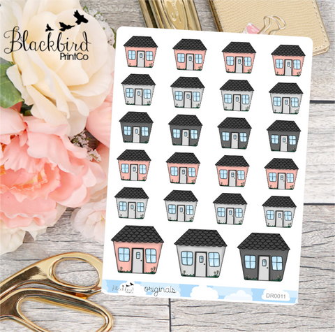 Houses | For Rent, Mortgage, Inspections etc - Hand Drawn Planner Stickers [DR0011]