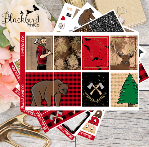 Lumberjack | Exclusive Hand Drawn Planner Sticker Kit for Erin Condren Vertical