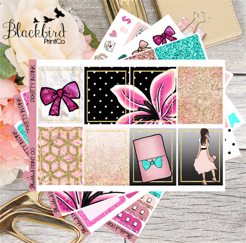 Pretty In Pink | Exclusive Hand Drawn Planner Sticker Kit for Erin Condren Vertical