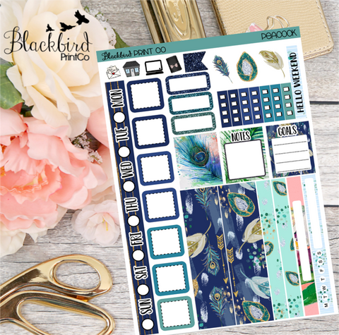 Peacock | Planner Sticker Kit for Hobonichi Weeks Planners
