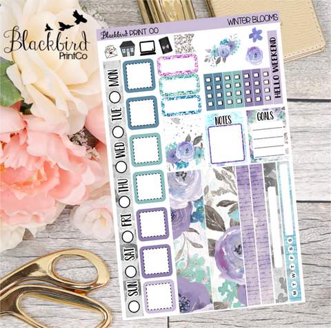 Winter Blooms | Planner Sticker Kit for Hobonichi Weeks Planners