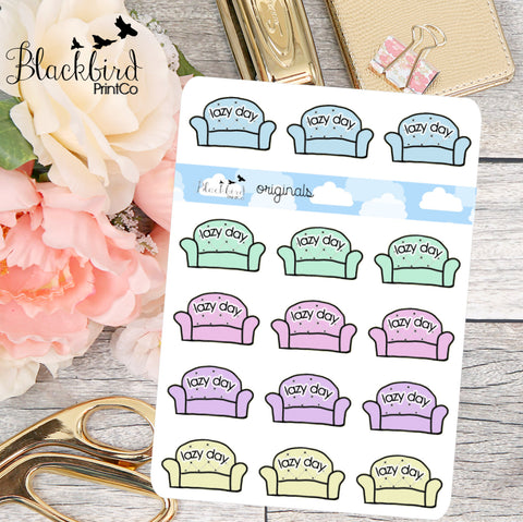 Lazy Day - Hand Drawn Planner Stickers [DR0006]