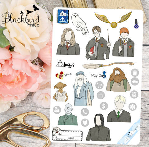 Wizarding | Sampler Page | Hand Drawn Original Planner Stickers