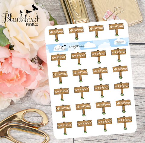 No Spend Signs - Hand Drawn Planner Stickers [FR0021]