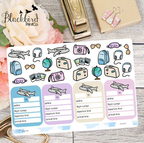 Travel and Flights - Hand Drawn Planner Stickers [DR0024]