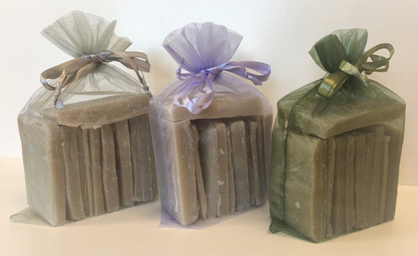 Organza bag filled with 1 lb of bar ends / scrap soap of goat milk soap, shea butter soap and/or shampoo bars