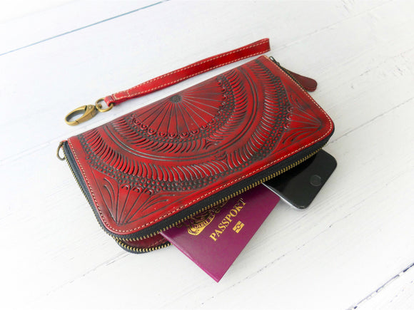 Red Zip Around Wallet
